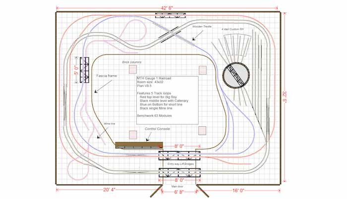 large indoor mth railroad track plan